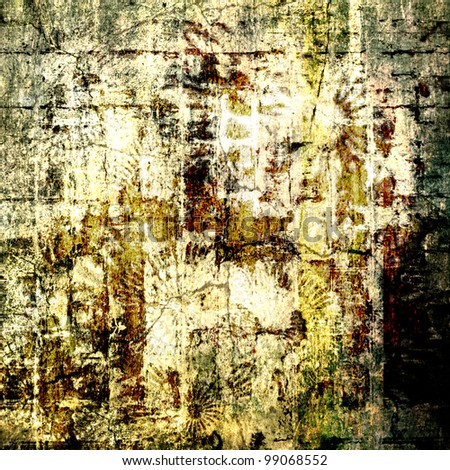 art abstract grunge plaster textured white background with beige, old gold, brown, black and blue green blots and graphic - stock photo