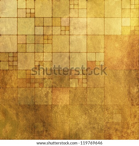 art abstract grunge textile textured old gold, yellow, orange and brown tiled monochrome background - stock photo