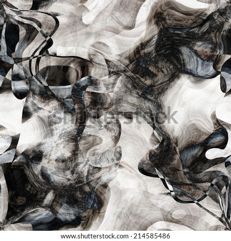 art abstract monochrome chaotic waves seamless pattern; blurred background in white, grey and black  colors - stock photo