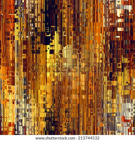 art abstract pixel geometric seamless pattern; tiled background in gold, yellow, orange, red, beige, grey, black and brown, colors - stock photo