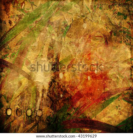 art abstract vintage sepia background with green, brown and red blots