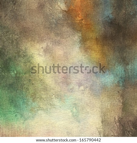 art abstract watercolor background on paper texture in light grey, beige, brown, orange and green colors - stock photo