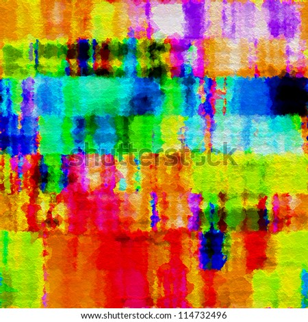 art abstract watercolor vibrant rainbow background: tiles seamless pattern - stock photo