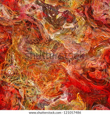 art abstracted colorful chaotic seamless pattern, background in red color - stock photo