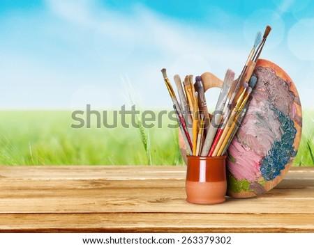 Art and Craft Equipment, Palette, Art. - stock photo