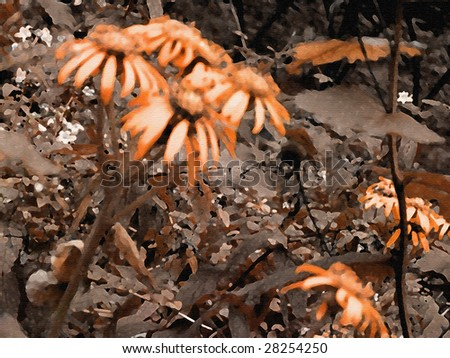 art autumn floral grunge orange and brown background for holidays