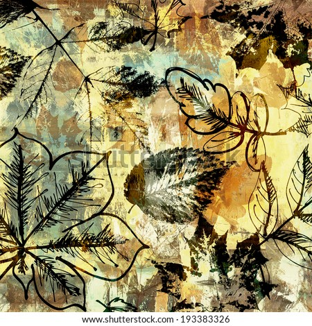 art autumn leaves background in beige, black, blue, yellow and brown colors - stock photo