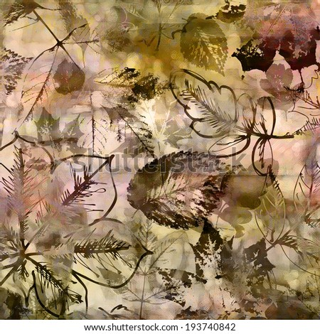 art autumn leaves background in beige, old gold, white, peach and brown colors - stock photo