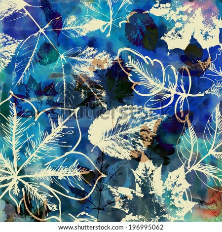 art autumn leaves background in blue, white, black and brown colors - stock photo