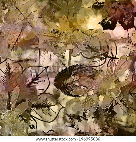 art autumn leaves background in white, black, olive and brown colors - stock photo