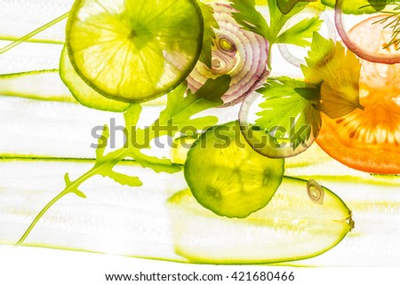 art background from sliced vegetable - stock photo