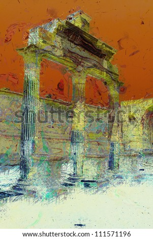 art background with europeans antique town, Classical portico,  Pompeii, Italy - stock photo