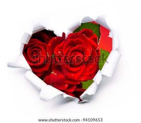 Art bouquet of red roses and the paper hearts on Valentine's Day - stock photo