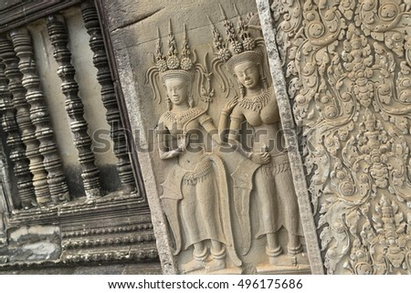 Art carvings in angkor temple, Cambodia