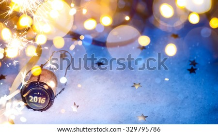 art Christmas and 2016 New year party background - stock photo