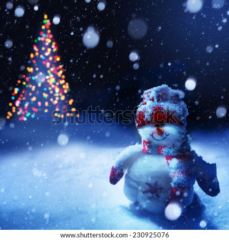 art christmas snowman - stock photo
