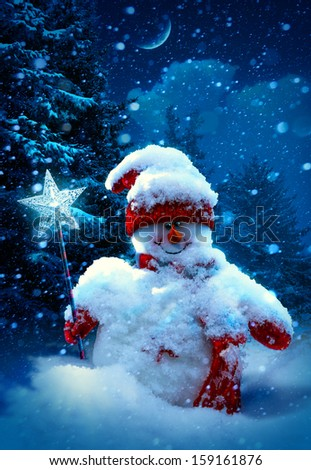 Art Christmas snowman and fir branches covered with snow - stock photo