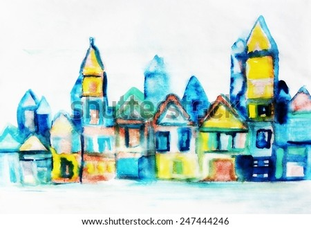 Art city background or Amsterdam background, Watercolor city background - stock photo