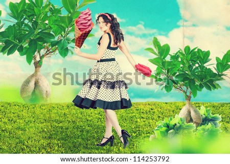 art collage with beautiful woman in garden - stock photo