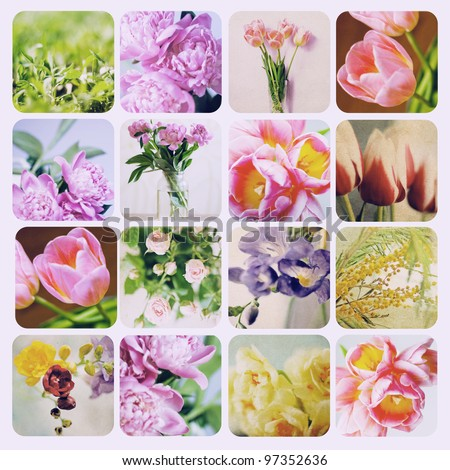 art collage with spring flowers