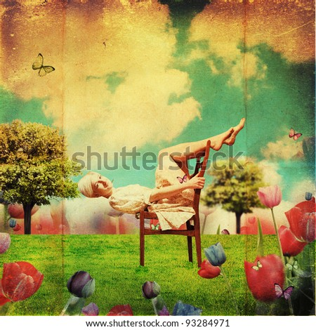 art collage with young woman, vintage pattern - stock photo