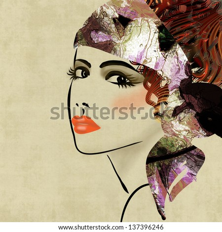 art colorful sketching beautiful girl face on sepia  background, in art deco style - stock photo