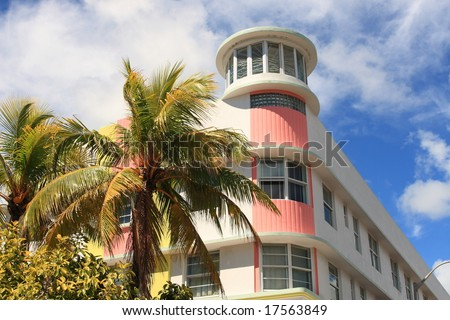 Art deco building and hotels on historic ocean drive, South Beach Florida - stock photo