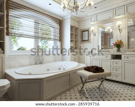 Art deco design of the bathroom in the milk and brown tones. 3d render.