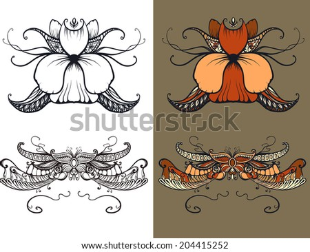 Art Deco floral ornament, typography, tattoo - stock photo