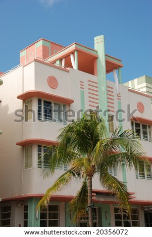 Art Deco Hotel in Miami Beach Florida - stock photo
