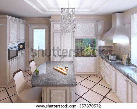 Art deco kitchen with painted furniture. Polished dark stone countertops, Built-in Aquarium in interior. 3D render - stock photo