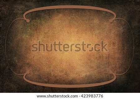 Art Deco ornamental frame with a background with texture. Yellow and brown colors