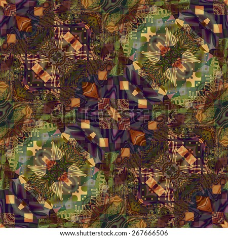 art deco ornamental vintage pattern, S.43, background in green, gold, brown and violet colors