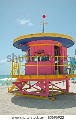 art deco pink lifeguard tower on South Beach, Miami, Florida - stock photo