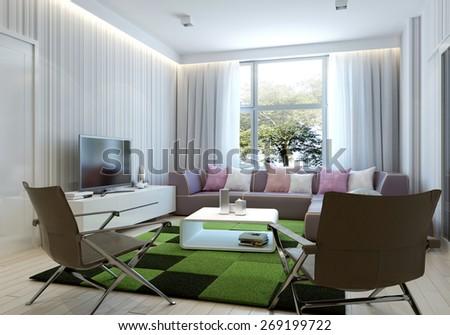Art deco style living room. 3d render - stock photo