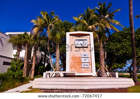Art Deco watch with date as landmark in South Miami - stock photo