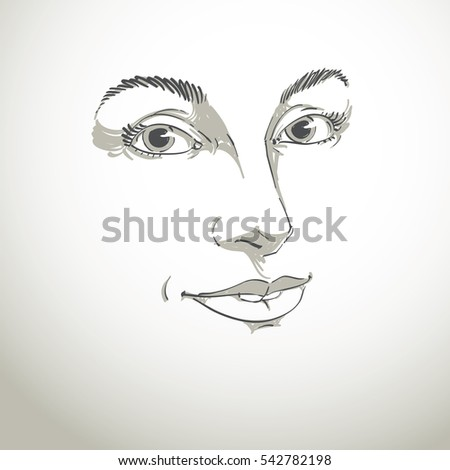 Art Drawing Portrait Of Gorgeous Happy Smiling Girl Isolated On White Facial Expressions