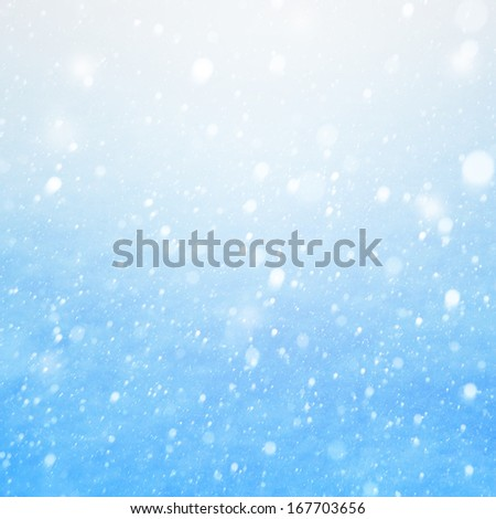 Art falling snow on the blue background - stock photo