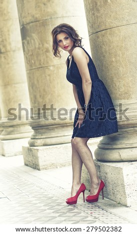 Art fashion portrait of young woman - stock photo