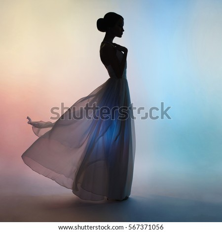 Shadows lady dress blowing in the wind images