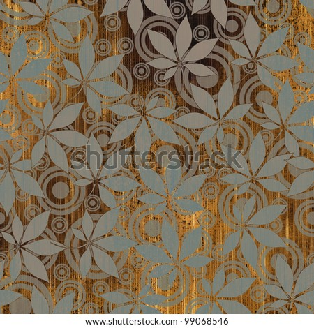 art floral autumn background card - stock photo