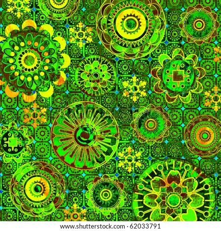 art floral geometric ornamental grunge green background - stock photo