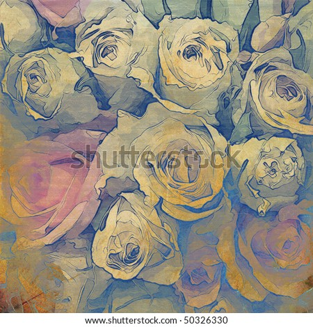 art floral vintage colorful background with bouquet of roses for family holidays - stock photo