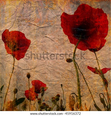 art floral vintage colorful background with red poppies on beige paper back - stock photo