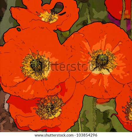art floral vintage colorful background with stylized vibrant red poppies - stock photo