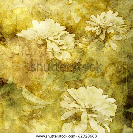 art floral vintage monochrome watercolor background with white peonies on old gold, olive, brown and green back - stock photo