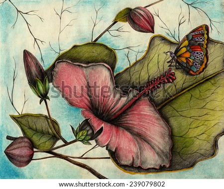Art Flower. Hand drawing and painting on paper. - stock photo