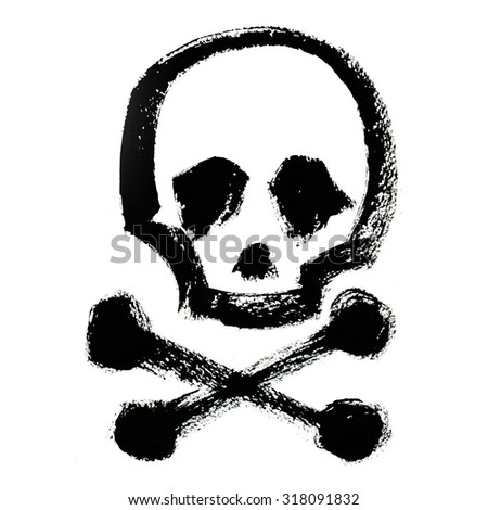 Art freehand watercolor sketch outline illustration of one black halloween holiday human skull with eyes and nose and two cross bones as pirates symbol on white background, square picture