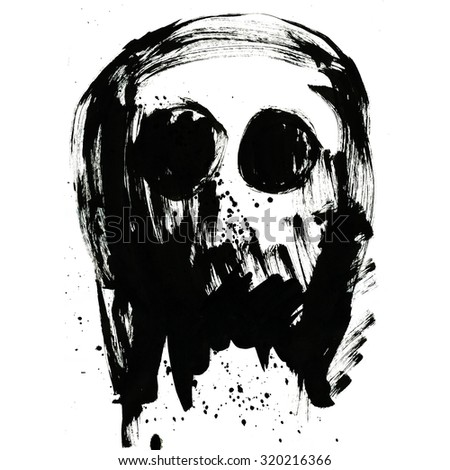 Art freehand watercolor sketch outline illustration of one black halloween holiday human skull with eyes as pirates symbol on white background, square picture