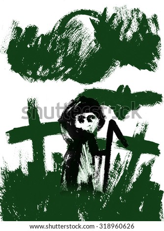 Art freehand watercolor sketch outline illustration of three green halloween holiday crosses with scary flying bat cloud moon and grim reaper on graveyard on white background, vertical picture - stock photo